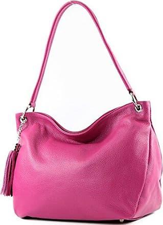 ital. Clutch Handtasche Abendtasche Echt Leder Damen Tasche F125940, Präzise Farbe:Pink modamoda de - Made in Italy