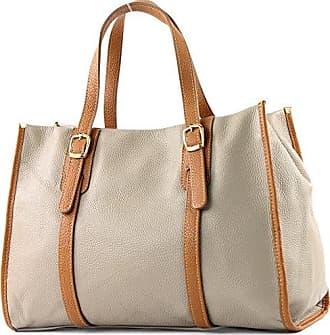 modamoda de - ital. Ledertasche Tragetasche Schultertasche Handtasche Shopper Damentasche T26, Präzise Farbe:Taupe/Camel modamoda de - Made in Italy