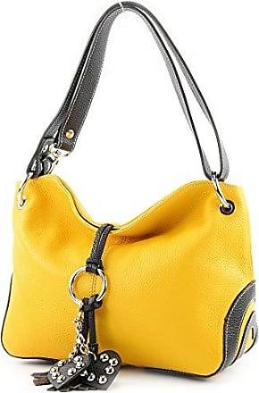 modamoda de - ital. Ledertasche Umhängetasche Crossover Leder Medium Damenhandtasche T10, Präzise Farbe:Gelb/Dunkelbraun modamoda de - Made in Italy