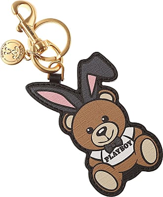 Key Chain for Women, Key Ring On Sale, Beige, Leather, 2017, One size Moschino