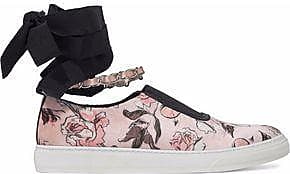 Mother Of Pearl Woman Lace-up Embellished Canvas Slip-on Sneakers Black Size 36 Mother Of Pearl