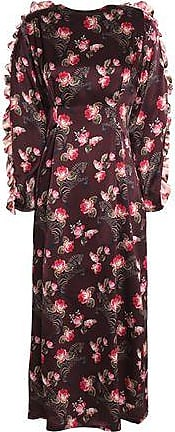 Mother Of Pearl Woman Faux Pearl-embellished Printed Silk-satin Blouse Multicolor Size 10 Mother Of Pearl