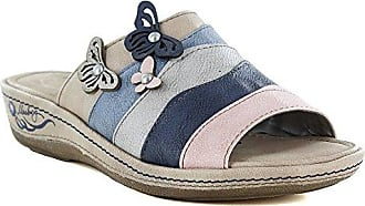 Mustang Damen Pantoletten Beige/Rosa/Blau, Schuhgröße:EUR 39