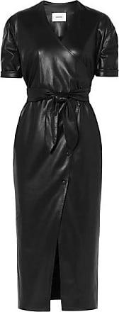 Penelope Vegan Faux Leather Wrap Midi Dress - Black Nanushka
