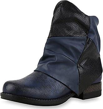 napoli-fashion Damen Schuhe Biker Boots Nieten Stiefeletten Metallic Schnallen Braun Nieten 39 Jennika
