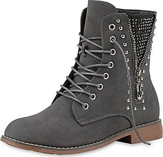 Damen Schuhe Stiefeletten Schnür Boots Used Optik Grau 38