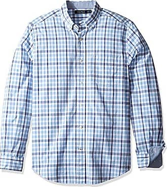 Plaid Classic Fit, Camisa Casual para Hombre, French Blue, L Nautica