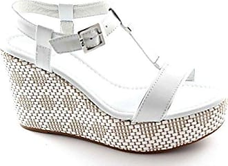 BLACK GARDENS 15600 Weiße Frau Leder Keil Sandalen Schuhe 36