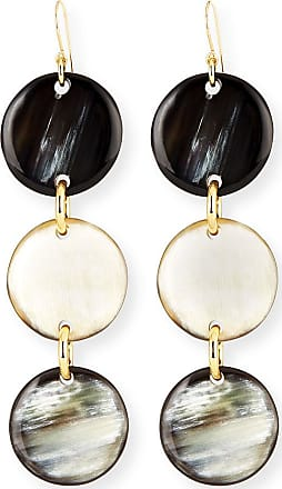 Nest Horn Triple-Drop Disc Earrings