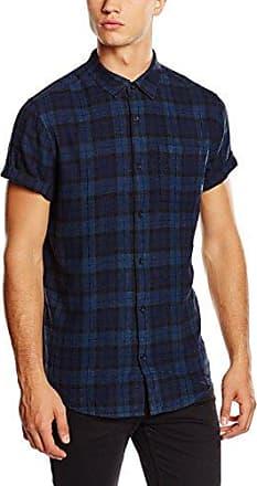 Mens Tonal Check Short Sleeve Slim Fit Casual Shirt New Look