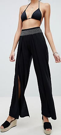 Shirred Wide Leg Jersey Beach Trousers - Black New Look