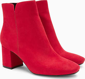 Next Velourslederstiefelette mit Kegelabsatz, rot, Blush
