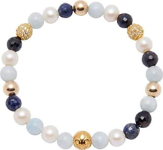 Nialaya Beaded Wristband with Aquamarine, Pearl, Sapphire and Gold - Extra Small