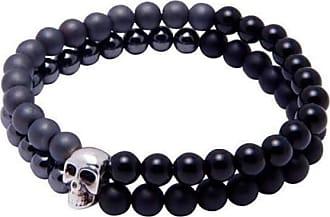 Nialaya Double-Beaded Skull Bracelet - Extra Large