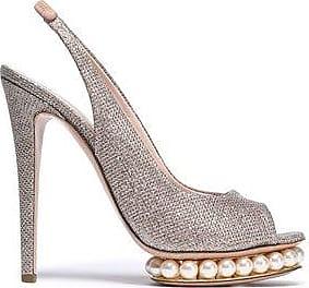 Nicholas Kirkwood Woman Embellished Metallic Woven Platform Slingback Sandals Platinum Size 41 Nicholas Kirkwood