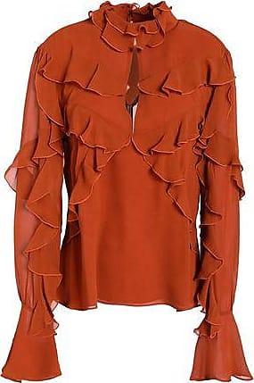 Nicholas Woman Cutout Ruffled Washed-silk Blouse Orange Size 6 Nicholas