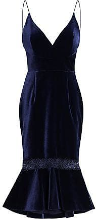 Nicholas Woman Fluted Lace-trimmed Velvet Midi Dress Indigo Size 8 Nicholas