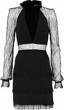 Nicholas Woman Picot-trimmed Fluted Lace Dress Black Size 12 Nicholas