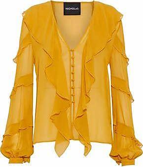 Nicholas Woman Cutout Ruffled Washed-silk Blouse Orange Size 4 Nicholas
