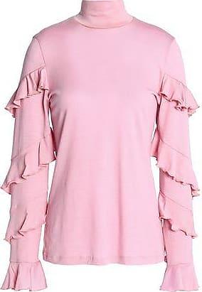 Nicholas Woman Cold-shoulder Ruffle-trimmed Wool Turtleneck Top Baby Pink Size 2 Nicholas