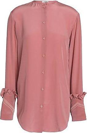 Nina Ricci Woman Bead-embellished Ruffle-trimmed Silk Dress Antique Rose Size 36 Nina Ricci