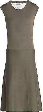Nina Ricci Woman Tulle-paneled Wool And Silk-blend Dress Army Green Size S Nina Ricci