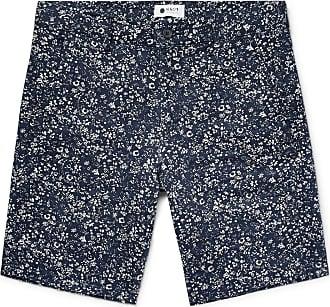 NN.07 Crown Slim-fit Printed Linen Shorts - Navy