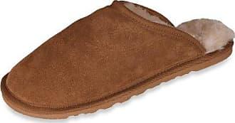 Nordvek - Damen Pantoffeln aus 100 % echtem Schaffell mit leichter Sohle - # 409-100 - Kastanienbraun 35