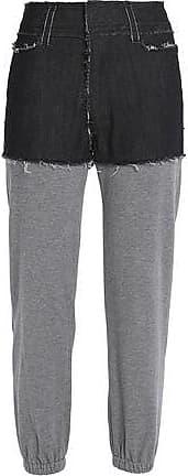 Norma Kamali Woman Paneled Denim And Jersey Track Pants Gray Size 2 Norma Kamali