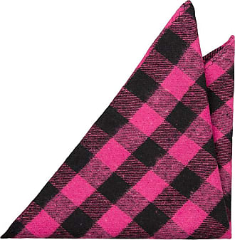 Silk Necktie - Black base with a plaid pattern in fuchsia and white Notch