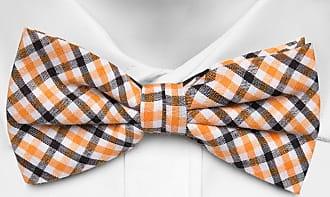 Cotton Necktie - Tattersall squares in orange, black and white - Notch HJALMAR Notch