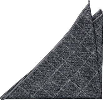 Pocket Square - Solid grey with small grid pattern Notch