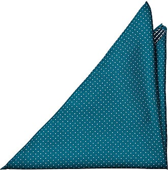 Pocket Square - Turquoise linen Chambray with small white dots Notch