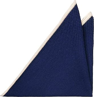 Handkerchief - Navy blue & off-white herringbones with blue edges Notch
