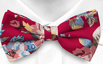 Pre tied bow tie - Red base with yellow, white and blue flowers Notch