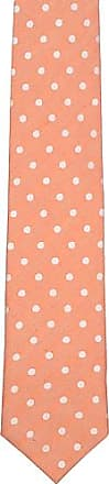 Linen Necktie - White polka dots on light orange plain weave - Notch OJIN Notch