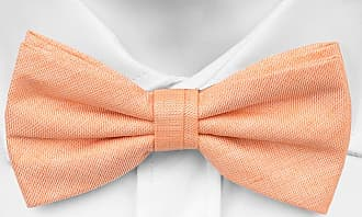 Self tie bow tie - Solid apricot & white, yellow & orange flowers Notch