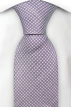Slim tie - Pale purple linen with mini diamond dots Notch