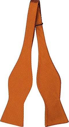 Pre tied bow tie - Orange base tightly packed with white pin dots Notch