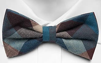 Cotton Pre tied bow tie - Blue, brown and beige squares on thin stripes - Notch ZEMENU Notch