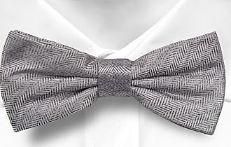 Pre tied bow tie - Grey Stripes on herringbones - Notch PIOTR Notch