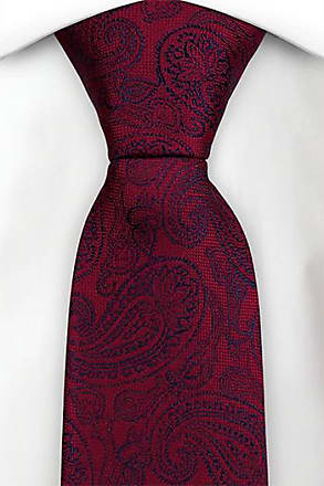 Slim necktie - Dark red twill, basic green & gold paisley drops Notch