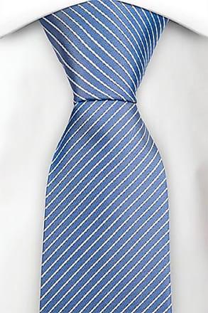 Silk Slim necktie - Ribbed, pale blue base with white stripes - Notch JEAN Notch