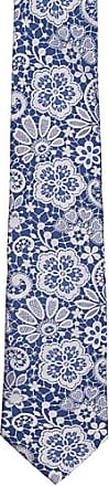 Silk Necktie - Steel blue base with white flowery pattern - Notch LUTHER Notch