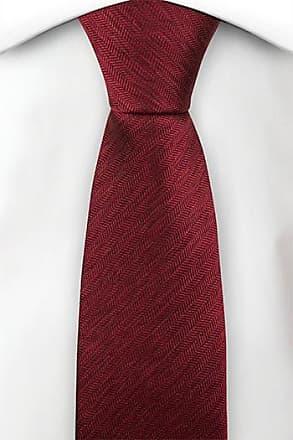 Slim necktie - Solid bright red with herringbones - Notch ASHOK Notch