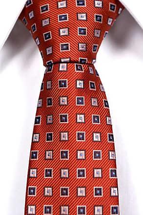 Slim necktie from Tieroom, Notch VOLMAR, orange base with blue squares Notch