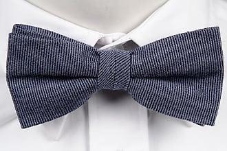 Linen Pre tied bow tie - Tightly woven, thin grey stripes on grey base - Notch MOLHEM Notch