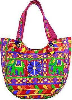Novica Embroidered tote handbag, Spiraling Floral