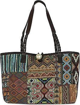 Novica Tie-dyed leather shoulder bag, Colorful Cosmos