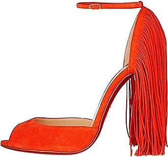 SHOWHOW Damen Blume Prinzessin Stiletto High Heels Sadalen mit Knöchelriemchen Orange 37 EU